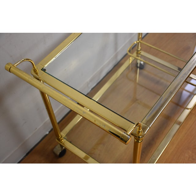 Hollywood Regency Brass Bar Cart - Image 5 of 11