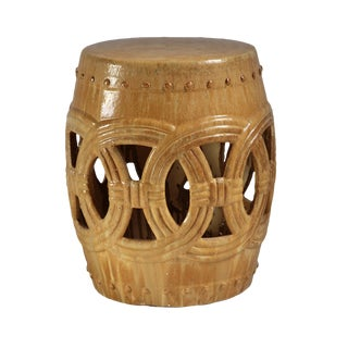 Sand Ceramic Rope Garden Stool