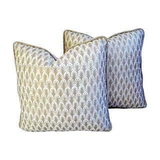 Italian Fortuny Piumette/Velvet Pillows - A Pair