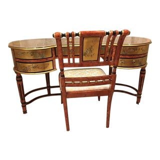 Curved Hand Decorated Desk & Chair - A Pair