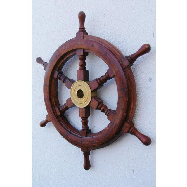 Mahogany & Brass Nautical Boat Ship Steering Wheel - Image 4 of 5