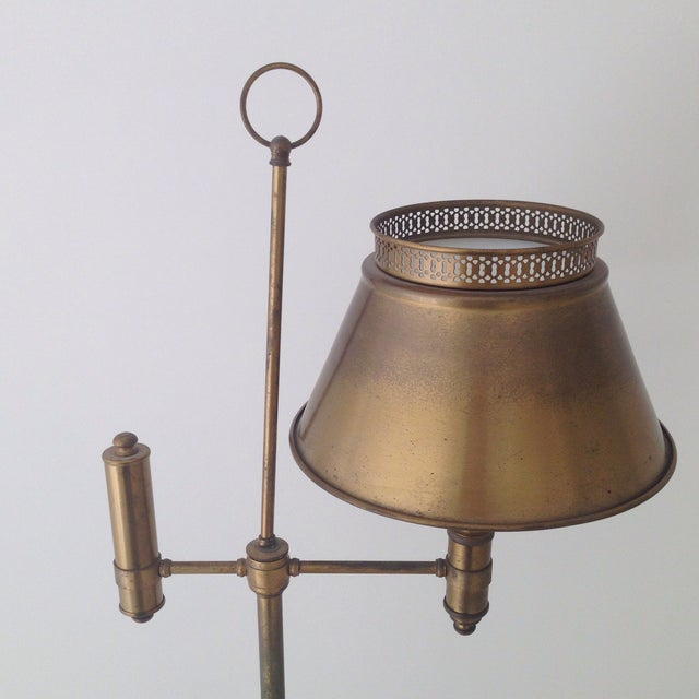 Aged Brass Tole Floor Lamp - Image 3 of 11