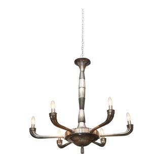 Large Art Deco Polished Nickel Six-Light Chandelier