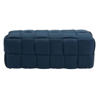 Modern Navy Fabric Basketweave Coffee Table Bench