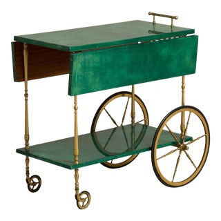 An Aldo Tura designed Lacquered Goatskin Barcart Italy 1950s