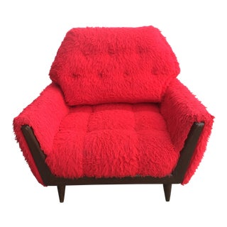 Mid-Century Red Shag Fur Chair