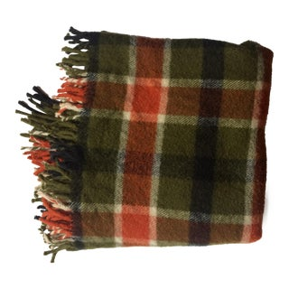 Vintage Wool Plaid Stadium Blanket