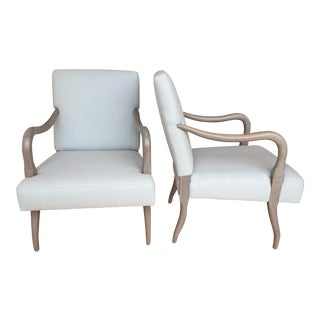 Light Blue Wool and Bleached Walnut Arm Chairs - Pair