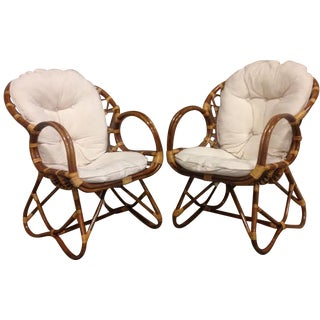 Franco Albini-Style Bent Rattan Chairs - A Pair