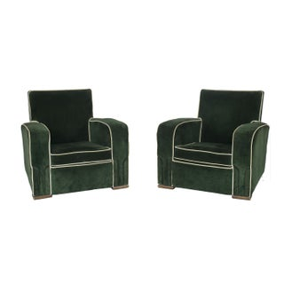 1940's French Art Deco Mohair Club Chair - Pair