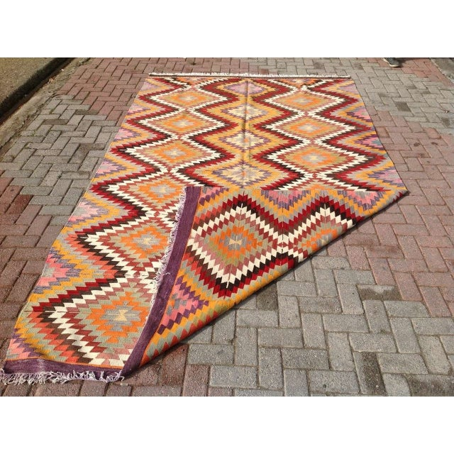 "Vintage Diamond Turkish Kilim Rug - 6' 10""x 11' 7"" - Image 5 of 6"
