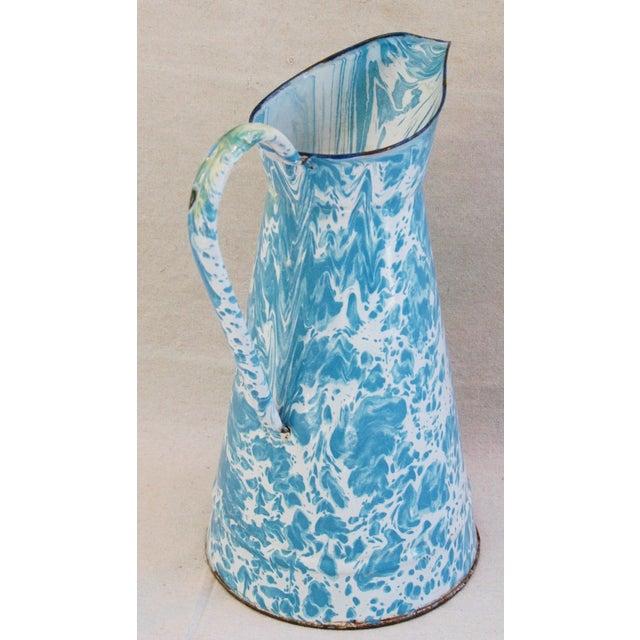 Blue & White French Enameled Porcelain Pitcher - Image 6 of 7