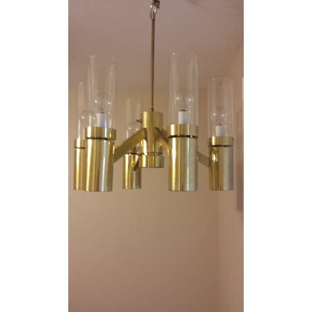 Brass 6 Arm Chandelier Attributed to Sciolari - Image 8 of 8