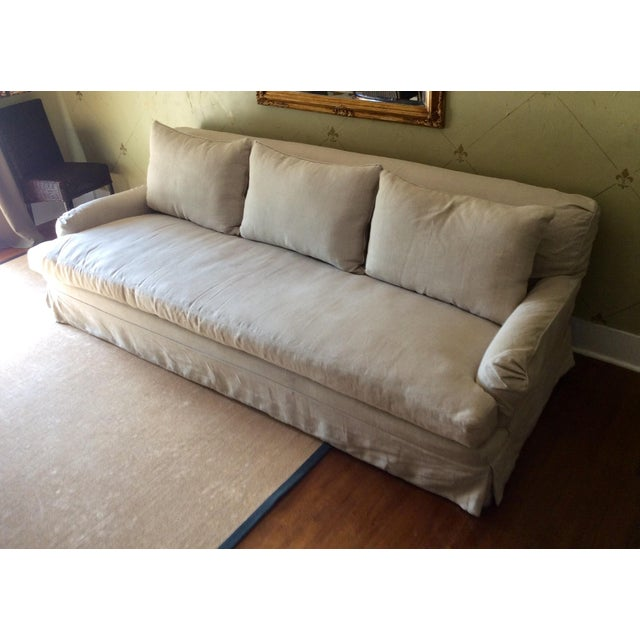 Image of RH Belgian Linen Roll Arm Slipcovered Sofa