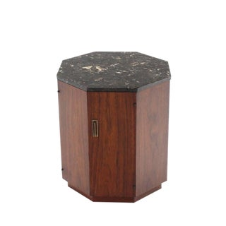Octagon Marble-Top Side Table with Compartment