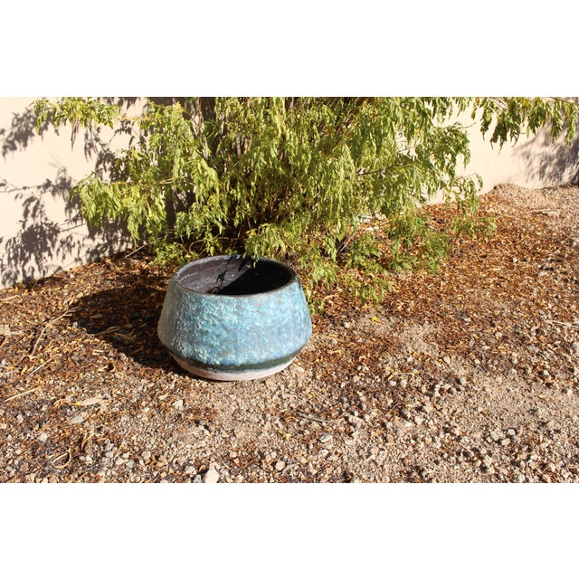 Mid-Century Blue Fat Lava Glaze Drip Planter Pot - Image 3 of 10