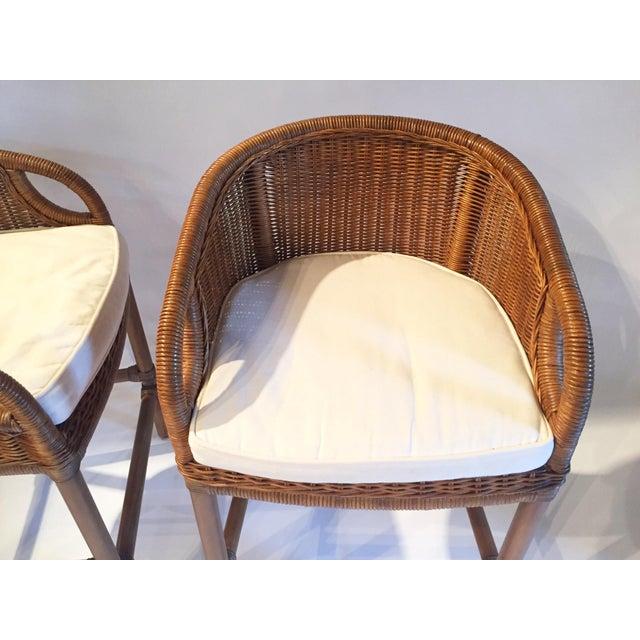 Contemporary Wicker Barstools - Pair - Image 4 of 5