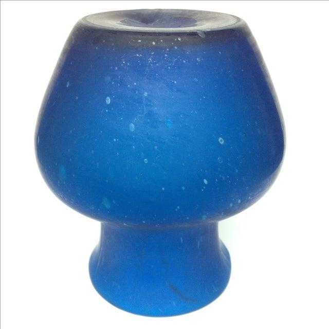 Image of Deep Blue Mid Century Murano Glass Vase