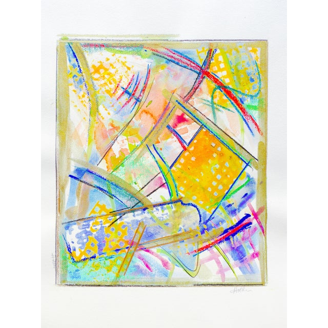 Yellow and Green Abstract Watercolor - Image 2 of 5