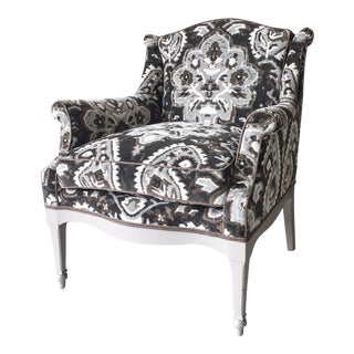 Vintage Armchair with New Scalamandre Oushak-Motif Linen Velvet Fabric