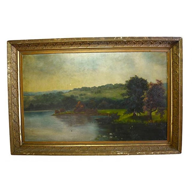 Image of Antique Landscape Oil on Canvas Painting