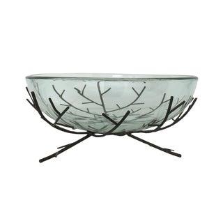 Glass Bowl on Metal Twig Stand