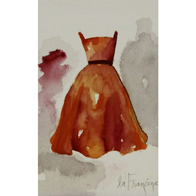 Watercolor Painting of Orange Gown - Image 1 of 2