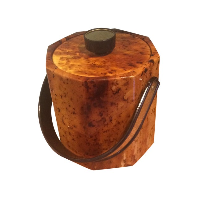 Vintage 80s Glam Gold Faux-Burl Ice Bucket - Image 1 of 4