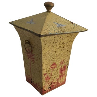 Crackled Yellow & Red Toile Box