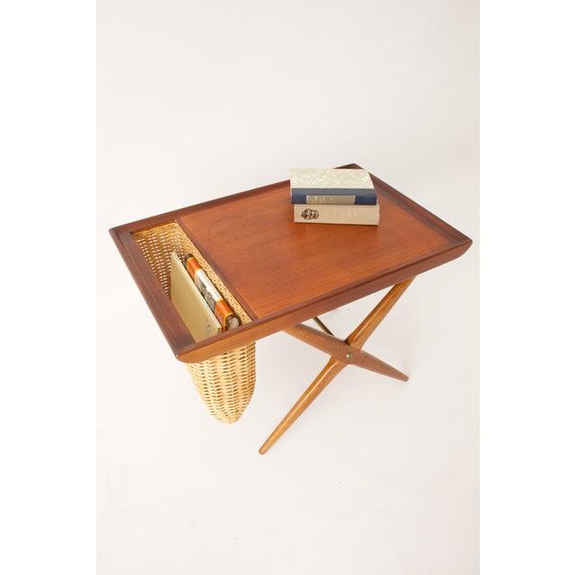 Teak Walnut MCM Side Table Woven Magazine Basket - Image 4 of 11