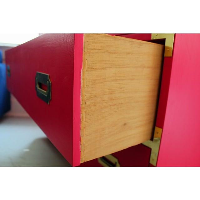 Hot Pink Vintage Dixie Highboy Campaign Dresser - Image 4 of 8