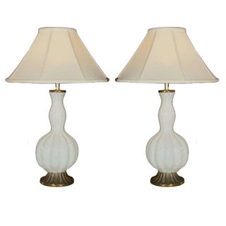 White Murano Glass Lamps - A Pair