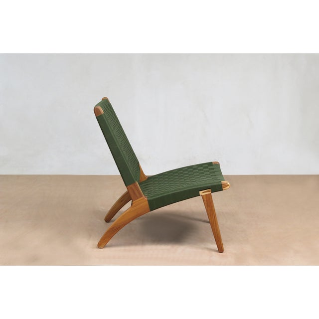 Mid-Century Modern Green Nylon Lounge Chair - Image 4 of 7