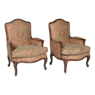 Louis XVI Chairs w/Fortuny Style Fabric - A Pair
