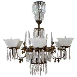 Rod-Hung Renaissance Style Brass and Crystal Gas Chandelier