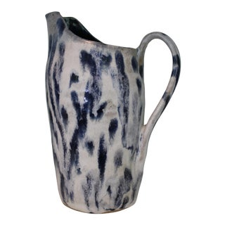 Abstract Handmade Blue & White Stoneware Pitcher