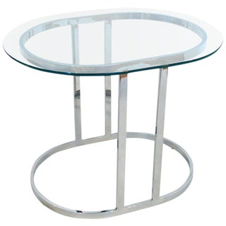 Oval Flat Bar Chrome and Glass Side Table