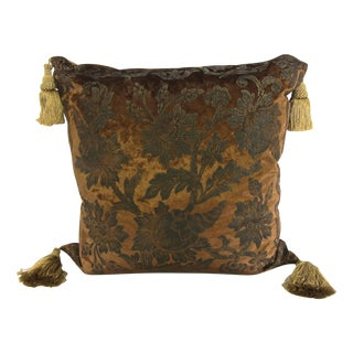 Copper Floral Jacquard Velvet Pillow with Tassels