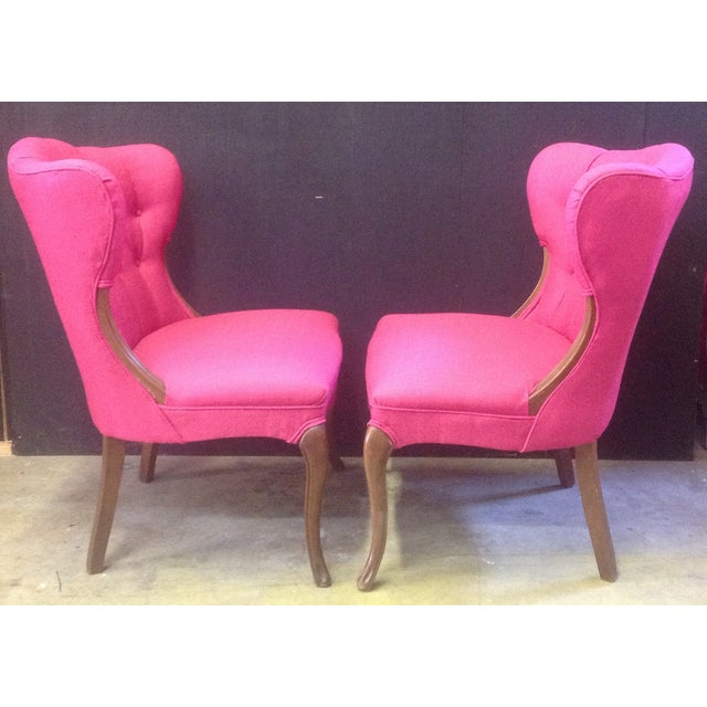 Hot Pink Regency-Style Chairs- A Pair - Image 3 of 6
