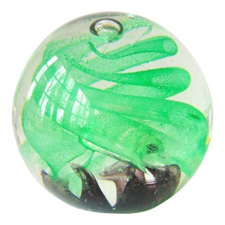 Art Glass Green Swirl Paperweight
