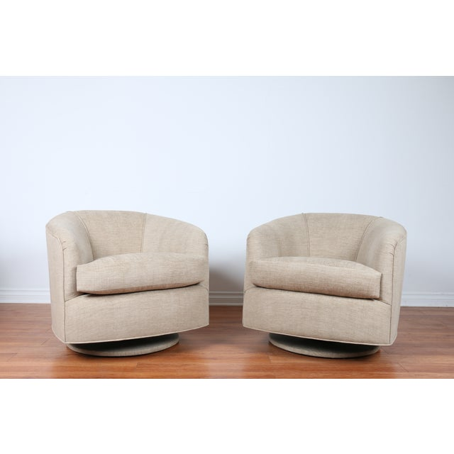 Swivel Hollywood Regency Style Chairs - Pair - Image 2 of 8
