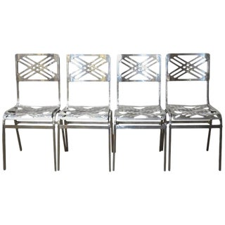 French Aluminum Eiffel Tower Chairs by Gallerie for Slavik