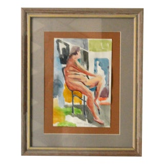 Nude Woman Watercolor Painting