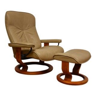 Ekornes Stressless Tan Lounge Chair & Ottoman - A Pair
