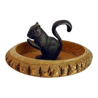 Cast Iron Squirrel Nutcracker in Tree Bark Bowl
