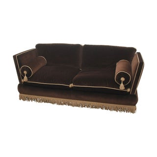Custom One of a Kind Brown Velvet Sofa