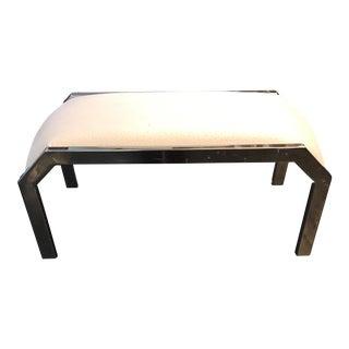 Vintage Aluminum & Faux Ostrich Skin Bench