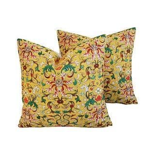 Custom Asian Yellow Floral Linen Pillows - a Pair