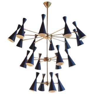 "3-Tier ""Monolith"" Enamel and Brass Chandelier by Studio Machina"