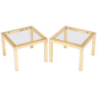 Mid-Century Modern Brass Side Tables- A Pair